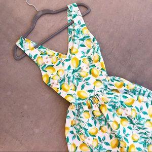 ELLE Lemon Printed Fit & Flare Summer Sundress